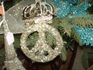 glitter incrusted Peace ornament